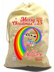 X-Large Cotton Drawcord LGBT Christmas Xmas Santa Sack Stocking Gift Bag With Gay Pride Rainbow Flag